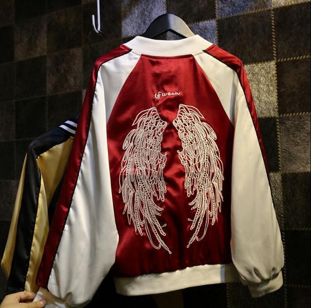 Крылья вышитые куртки Японский Harajuku уличный стиль Корейская версия ретро равномерное куртка прилив