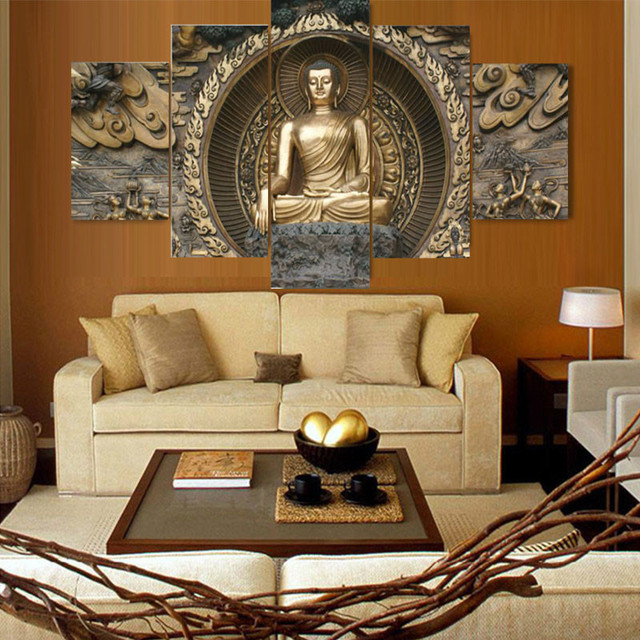 HAOCHU 5Pcs Group Canvas Painting Buddha Bronze Statue HD Digital Print Group  Home Decor Wall Backdrop