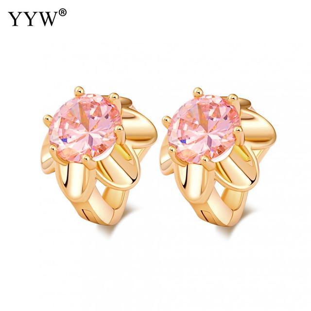 Luxury Gold Color Hoop Earrings Pink Crystal Cubic Zirconia Simple Item Female