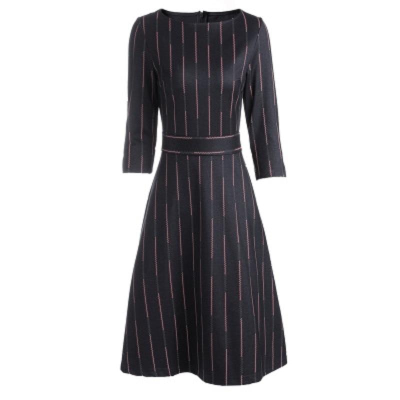 Longueur cou Solide Une Noir Femmes Partie Ligne Genou O Xl Vintage Robes Vêtements Rayé Lady Robe 2018 Mode Bureau Nouveau Automne tH1qan