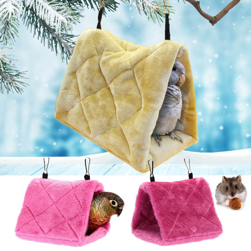 Pet Bird Parrots Hamster Plush Cotton Hanging Smuggle Hammock Tent Warm Nest Bunk Toys Hut Tent Bed Cage Cave House