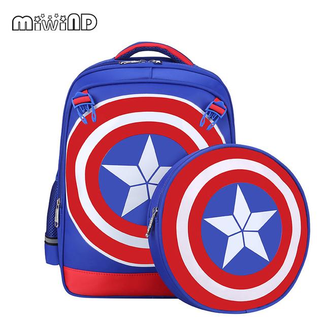 Tamaño pequeño Capitán América Mochilas escolares para Niños Mochilas Bandolera Estudiante Bolsa de Viaje de la Taleguilla de La Alta Calidad de Regalo