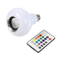 E27 Wireless Bluetooth 12W LED Speaker Bulb Audio Speaker Colorful Music Playing Lighting With 24 Keys