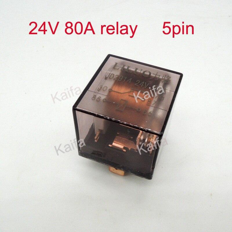 5pcs 24v 80A 5pin transparent car relay high power relay refires relay Air conditioning horn relay auto lighting controller