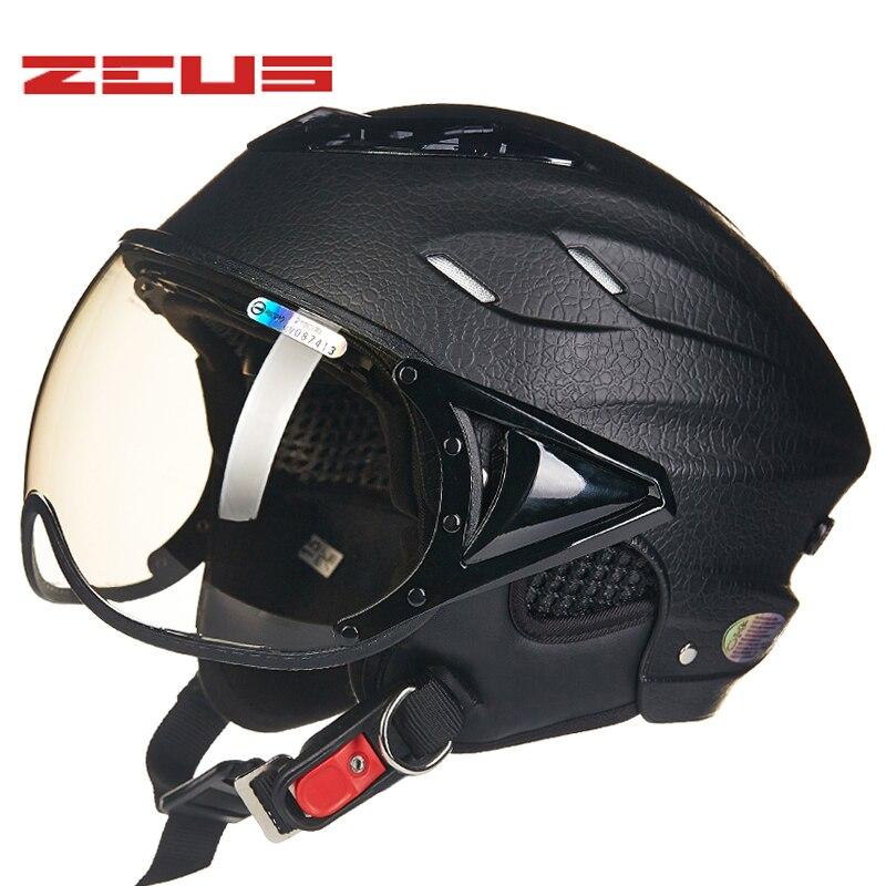 Black crack dermatoglyph ZEUS 125B half face motorcycle helmet, electromobile motorbike safety helmet for women and men
