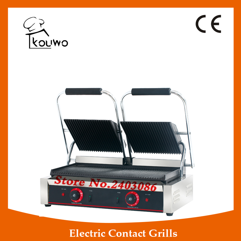 commercial table counter top snack equipment Stainless steel non-stick double plate full grooved electric panini contact grill commercial non stick electric 220v countertop table top teppanyaki plate panini contact griddle