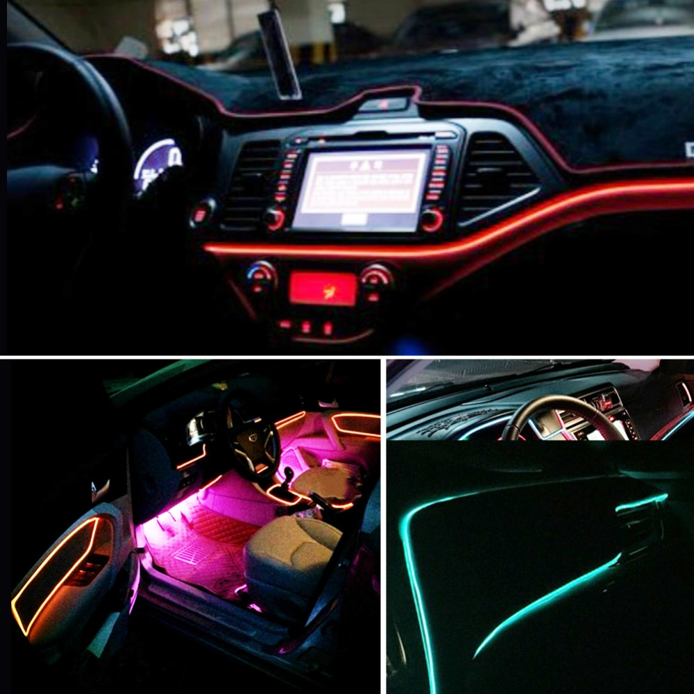 atcomm 3 meters auto interieur verlichting auto led strip guirlande el wire rope tube line flexibele neon licht auto decoratieve lichten in atcomm 3 meters