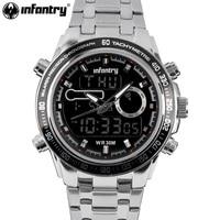 INFANTRY Mens Watches Reloj Digital Quartz Watches Silver Stainless Steel Luminous Alarm Clock Men Military Watches