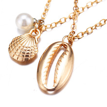 Fashion Pearl Shell Necklace Two Layers Cowire Pendant Necklaces Gold Women Ocean Seashell Chain Necklace Bohemian Jewelry H34