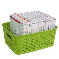 HIPSTEEN Multi Function Hollow Platic Desktop Storage Basket Woven Pattern Kitchen Office Storage Box Clothes Bra