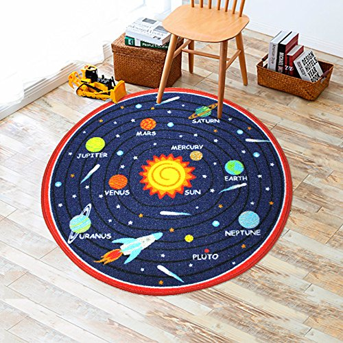 Round Rug for Kids Boys Girls Solar System Bedroom Playroom Floor Mat Kids Play Fun Rug  ...