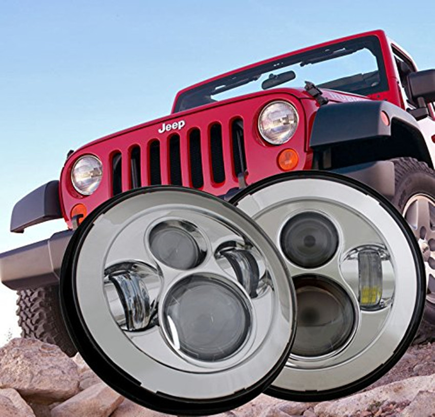 Chrome <font><b>7</b></font>&#8221; Round Projector HID <font><b>LED</b></font> <font><b>Headlight</b></font> Hi/Lo Projector Daymaker <font><b>Headlight</b></font> for Jeep Wrangler JK Harley Motorcycle