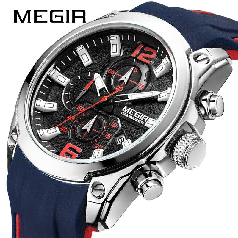 MEGIR Men's Luxury Watch Multi-Function Timekeeping Casual Sports Quartz Calendar Weeklight Watch multi function casual men quartz sports watch