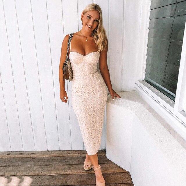 2018 Sexy Bandage Dress High Quality Women Fahsion Spaghetti Strap Midi  White Wedding Party Dress Elegant Lace Dresses Wholesale 0c0f10a862de