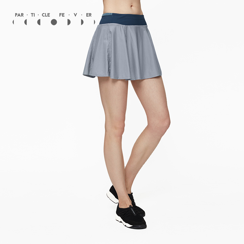 Particle Fever Two Colors Double Layer Knitting Mesh Sports Skirt High Elastic Tennis Skirt Pleated Tennis Skorts pleated high waist a line skater skirt