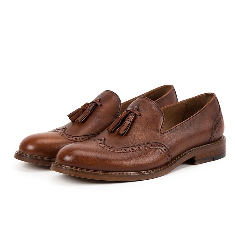 Pria Chaussures Sepatu Cuir Brown Bottes On Mode En Conduite Marque green De Véritable Slip 2018 Mocassins Nouveau Mycoron Hommes Casual wgqTaa