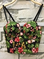 P16 New 2016 Fashion Summer Women Floral Lily Print Zipper Bralet Ladies Camis Tank Vest Cotton Bra Top Corset Cropped Tops