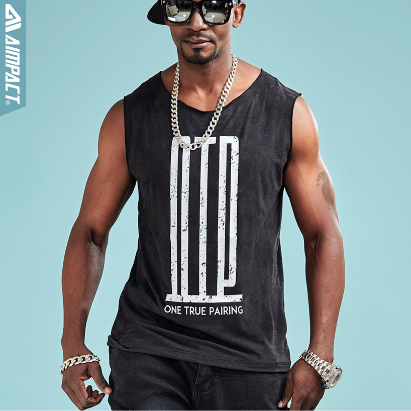 Aimpact Fashion Soft   Tank     Top   Men Hip Hop Comforty OTP Sleeveless Shirts Sexy Male Fitness Brand Clothing Activewear Tee AM1029