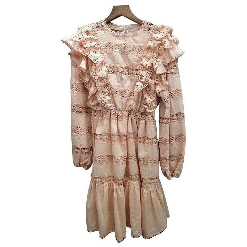 CHICEVER été élégant solide évider robe pour les femmes O cou lanterne manches taille haute une ligne Mini les robes 2019 mode - 4
