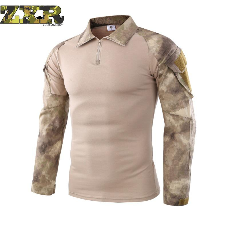 Men Soldiers Combat Tactical Ruin Camouflage Army Hiking T-shirts Military Force Multicam Camo Long Sleeve Hunting T-shirt