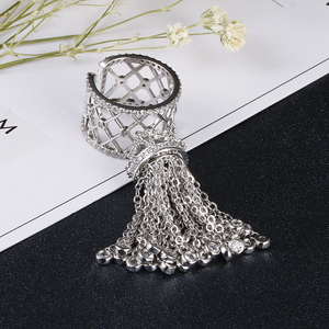 Image 4 - Luxury Royal Tassel Crown Rings For Women With Top Quality Cubic Zircon Adjustable Tassel Ring bague femme AR014