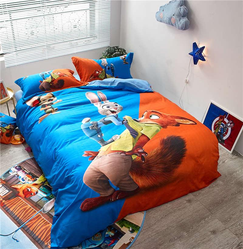 Disney cartoon queen bed sheet set Zootopia Judy Nick print comforter bedding set 3/4pcs sanding cotton bedcover kids child gift