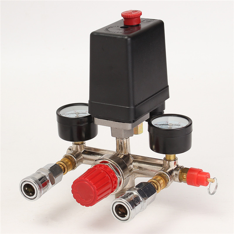 Air Compressor Pressure Valve Switch Manifold Relief Regulator Gauges 90~120 PSI 240V 17x15.5x19cm High Quality 1pc air compressor pressure regulator valve air control pressure gauge relief regulator 75x40x40mm