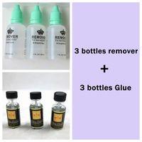 3 flaschen Entferner und 3 flaschen Spitzeperücke Klebstoff für perücken und band haarverlängerungen und toupet