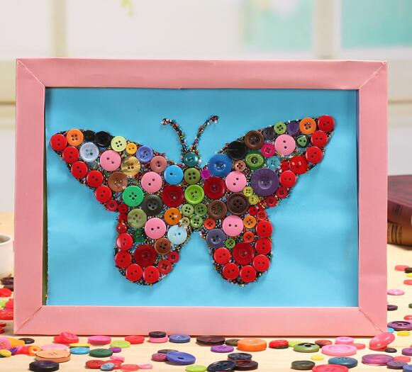 Beautifully Butterfly Hand-crafted Children's Handmade Creative Educational Puzzle Kits DIY Children Color Button Stickers Toys