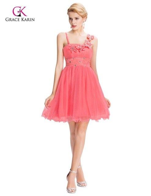 Beautiful Pink Bridesmaid Dresses Grace Karin 2017 Flower Empire cheap Short Wedding Junior bridemaids dress under 50 GK40