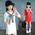 2016 winter hot fashion children's fashion wild sweater girls printed letters plus velvet bottoming shirt with a scarf