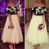 Новое поступление белый черный кружево вечернее платье короткие 2019 чай Длина недорогие вечерние платья халат de soiree торжественное