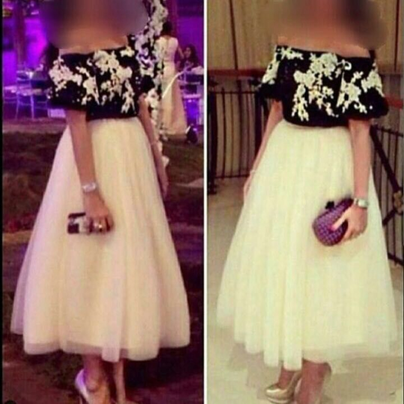 New Arrival White Black Lace   evening     dress   short 2019 Tea length Cheap   evening   gowns Robe de soiree formal   dress