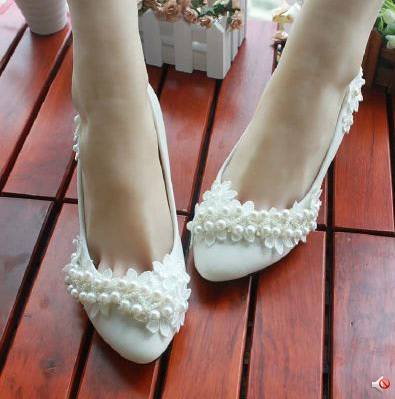 3CM/4.5CM/8.5CM/11CM Women Female High Heel Shoes Wedding Pump White Lace Pearl Bride Bridesmaid - I'm with you store