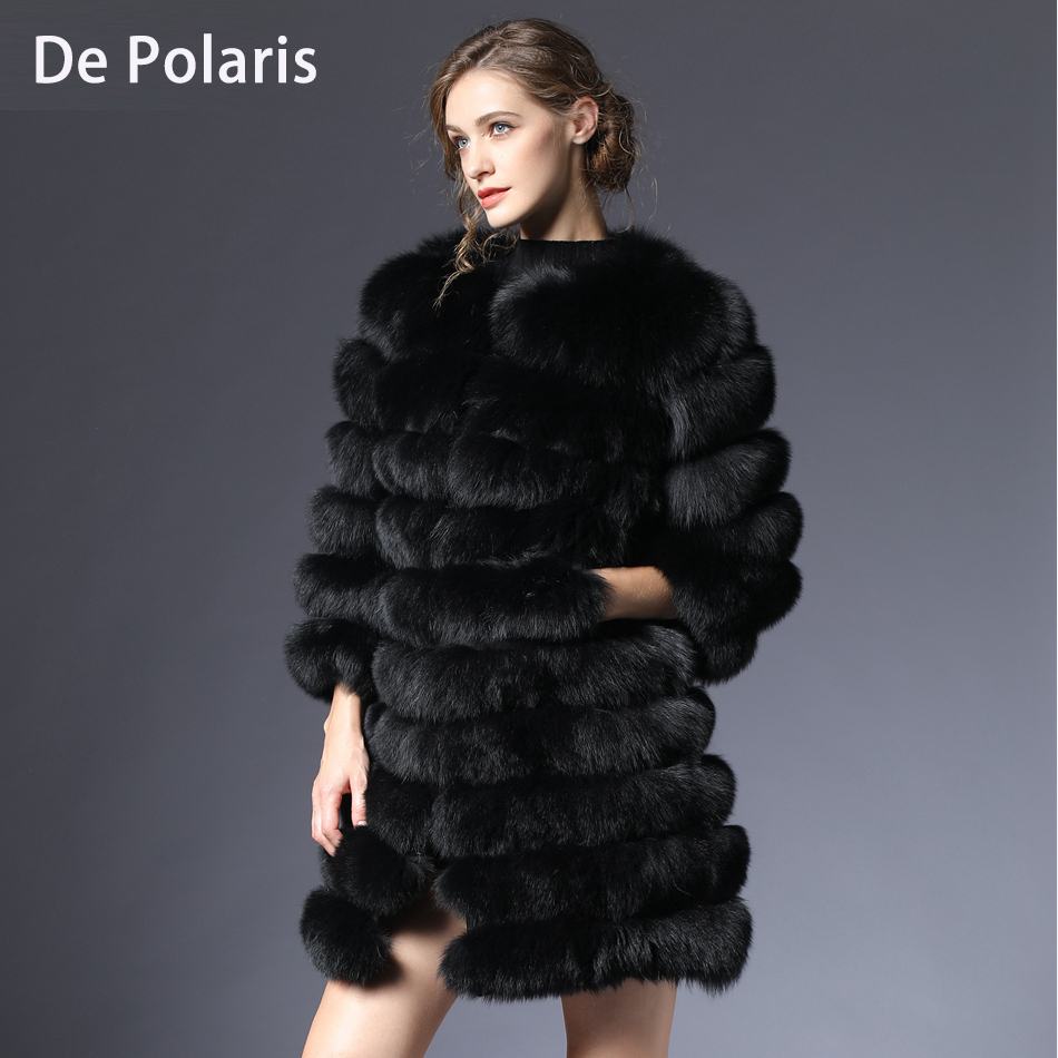 Natural Fox Fur coat real natural Women Winter Genuine natural Fox Fur coat with Fur vest