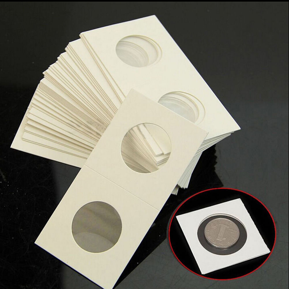 50 pcs Coin Holders 2x2 Mylar Cardboard Coin Flips Storage  33mm New