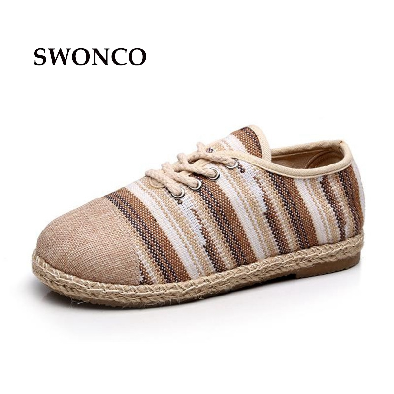 SWONCO Women's Flats Shoe Women New Spring Old Beijing Vintage Ladies Shoes Casual Shoes Woman 2018 Lace Up Woman Flats traditional chinese style shoes embroidery dance women fashion old beijing mary jane shoes woman red flats single casual plus 41