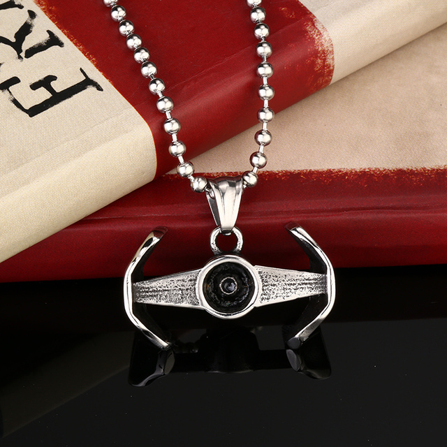 Star Wars Tie Fighter Men Stainless Steel Pendant Necklace
