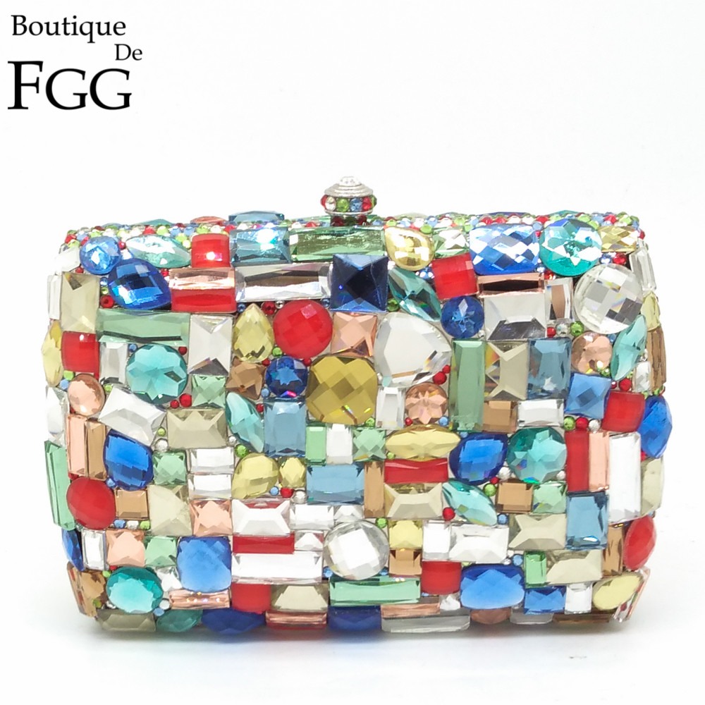 Gift Box Packed Women Square Multi Stones Crystal Rhinestones Metal Clutches Evening Bag Wedding Cocktail Hardware