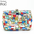 Gift Box Packed Women Square Multi Stones Crystal Rhinestones Metal Clutches Evening Bag Wedding Cocktail Hardware Handbag Purse