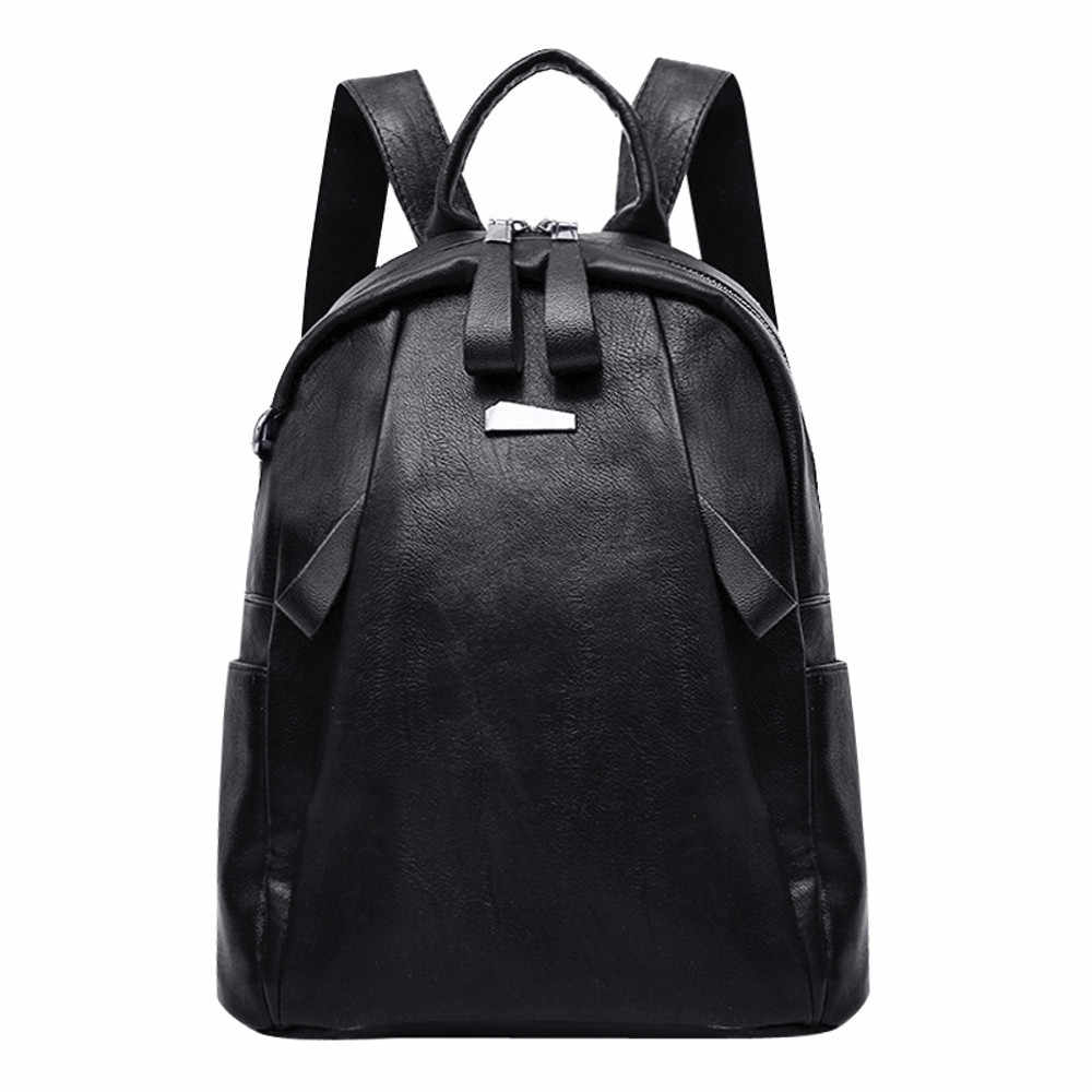 Women PU Leather Fashion Women Girl Leather Backpack Travel Rucksack School  Bag for Teenagers 2019   ea31554faac8d