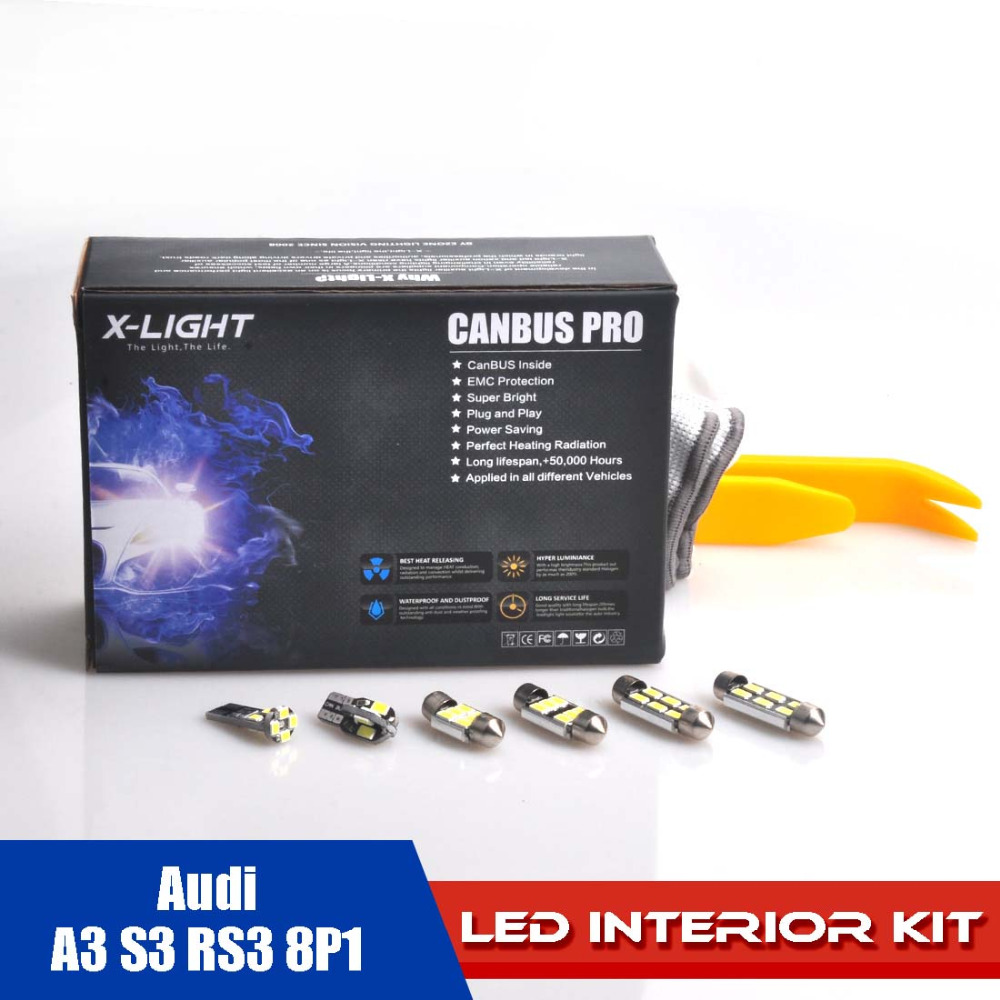 19pcs Error Free Xenon White Premium LED Interior Reading Full Light Kit for Audi A3 S3 RS3 8P1 WITH Installation Tools