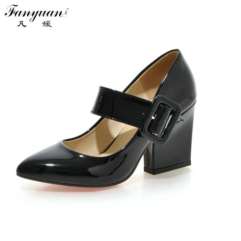 Party Pumps Women Shoes Pointed Toe Thick High Heels Big Buckle Strap 2018 Spring Summer Female Sweet Mary Jane Pumps Plus Size