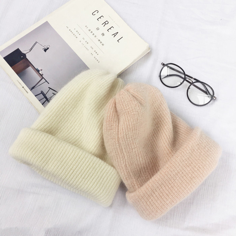 Autumn winter rabbit hair Winter skullies Hat fashion warm beanies hats casual women solid adult rabbit caps cover head 3