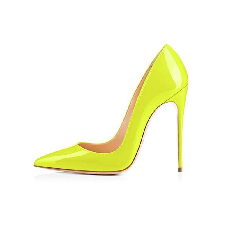 b892604aa5 Gullick Stiletto 12 CM Fluorescent Yellow Popular Woman Pointed Toe Pumps  Shallow Sexy Party High Heels Shoes Big Size 43