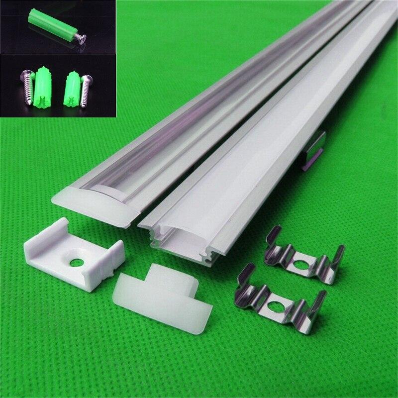5-30 pcs/lot 1 m profilé en aluminium pour bande de LED, couverture laiteuse/transparente pour carte pcb de 12mm avec raccords, lumière de barre de LED intégrée