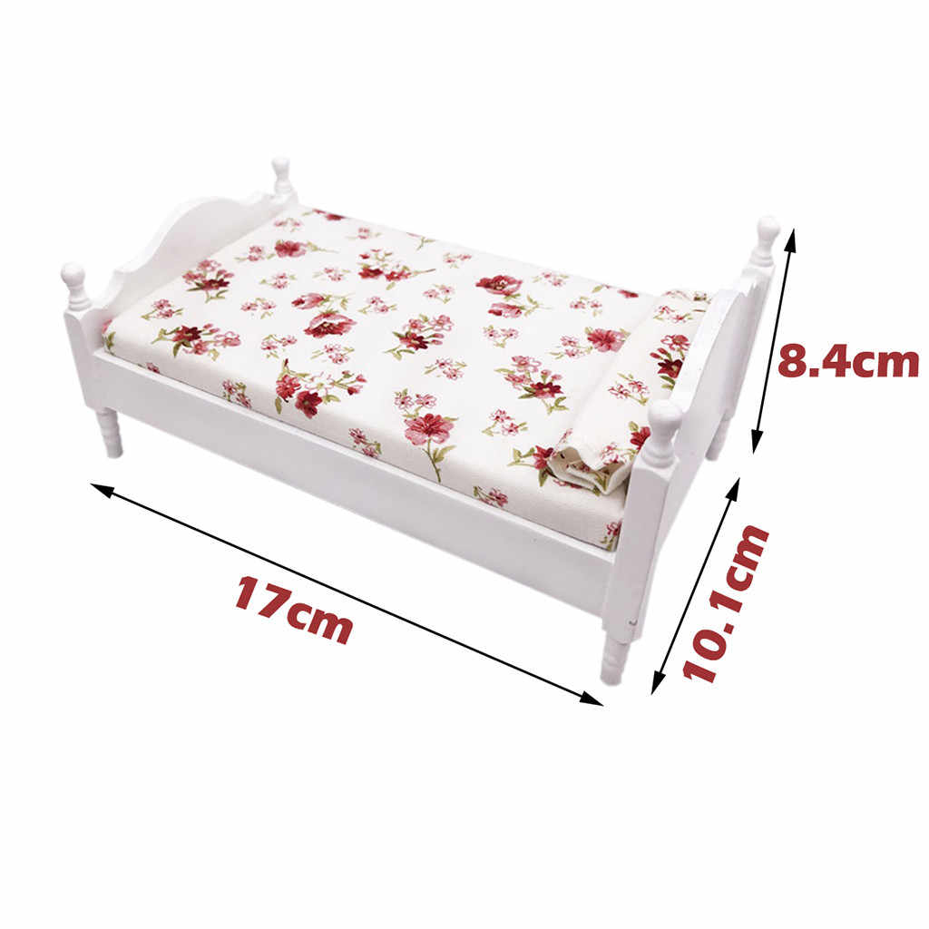 1/12 Dollhouse Furniture Simulation Mini Bed Set Miniature Living Room Doll House Accessories Kids Pretend Role Play Toy M50#