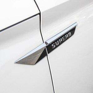 Image 2 - Car Original Side Wing Fender Door Emblem Badge Sticker Trim For Skoda Superb 2015 2016 2017 2018 2019 Car Styling