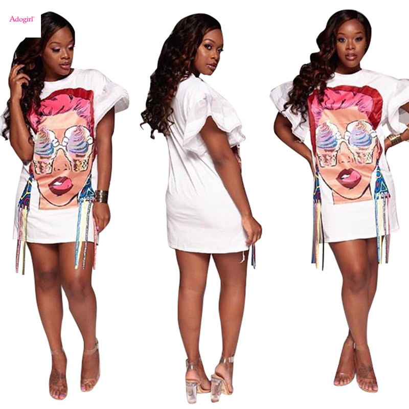 US $12.6 30% OFF|Adogirl Ice Cream Eyes Girl Print Ribbon Plus Size Women  Casual Dress O Neck Organza Flare Short Sleeve Loose Mini Dresses M XXL-in  ...