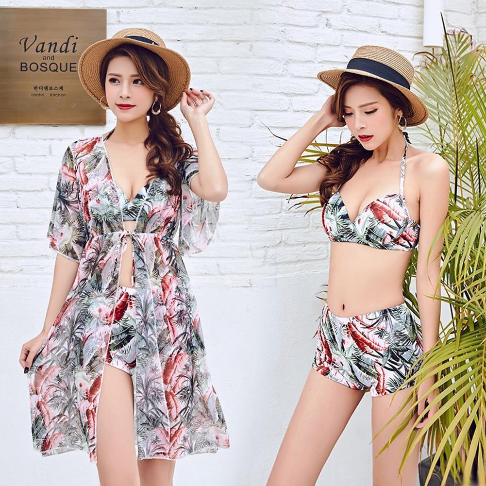 2018 New Style Fashionable Split Bikini Three-piece Sexy Korean Version With Blouse Gathered Swimwear Hot Spring Swimsuit